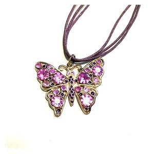 Beautiful rhinestone butterfly necklace